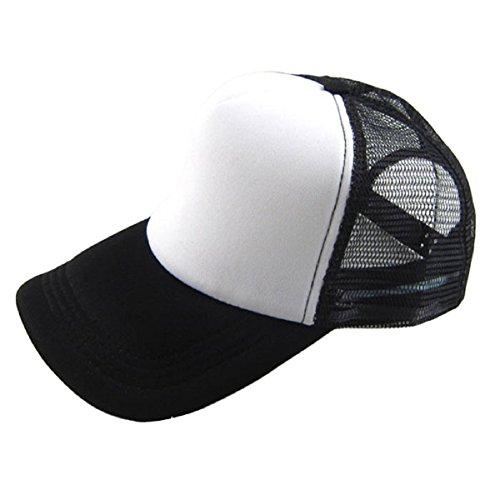 Tongshi Sombrero Casual Unisex Solid Gorra de béisbol del camionero de malla Visor en blanco ajustable del sombrero (L)