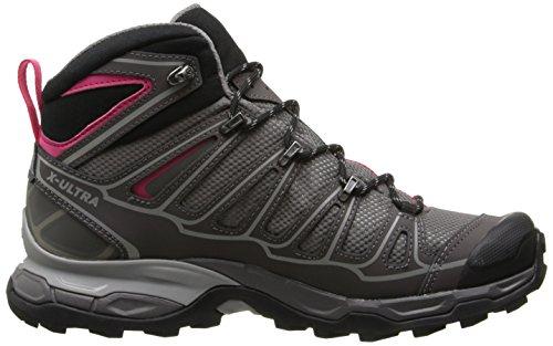 Salomon X Ultra Mid 2Gtx, donna alto scarpe da escursionismo Grigio (Detroit/Autobahn/Hot Pink)