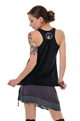 3Elfen Peace T-Shirt Femme/Dos Nageur Lâches Imprime Elfe de la Paix - Haut sans Manches de Noir