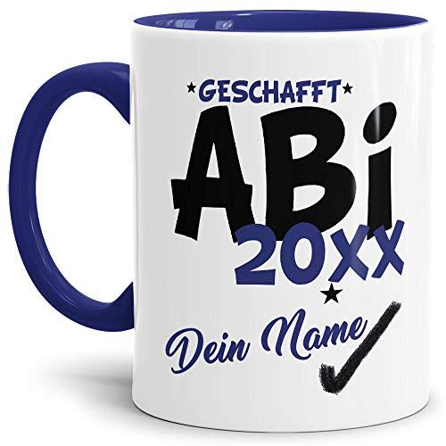 e Geschafft Abi 20XX - Selbst gestalten mit Jahr und Name zum bestandenen Abitur/Schule/Lehrer/personalisierte Geschenk-Idee/Innen & Henkel Dunkelblau ()