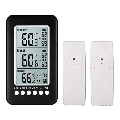 NeKan Wetterstation Thermometer Digital Innen Außen mit 2 Sensor Wasserdicht Max/Min Records