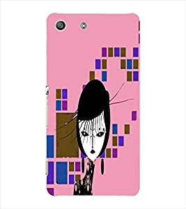 Fuson Square Pattern Girl Back Case Cover for SONY XPERIA M5 - D3976