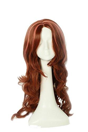 Halloween Coslive Perücke Wig Lange Brown Lockig Wellig Perücken Cosplay Kostüm Costume Haar Hair Zubehör