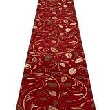Teppichläufer, Rot, mit Schnörkeln, für Flur, Treppen (erhältlich in jede Länge bis 30m), Polypropylen, L: 4.50m (14ft 9in) x W: 60cm