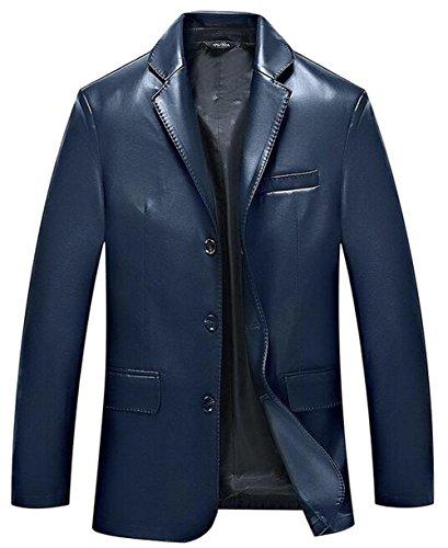JZWXX Hommes Printemps Automne costume simple boutonnage luxe blazer élégant manteaux occasionnels lavé veste en cuir PU MC1603FR Bleu