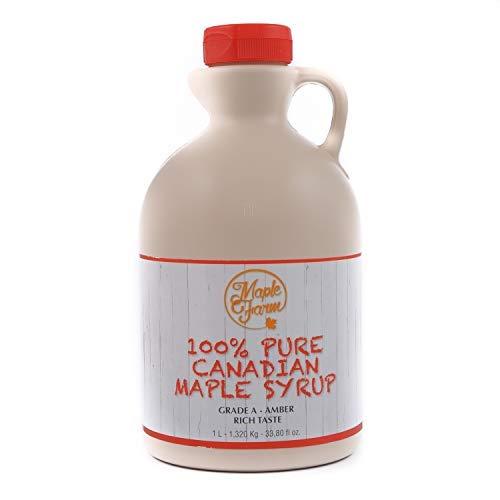 MapleFarm - Pure Maple Syrup Grade A (Amber, Rich Taste) - 1 Liter (1,32 Kg) - Vegan