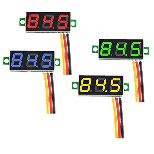 IZOKEE 4 Pezzi 0,28 Pollici Mini Voltmetro Digital LED Display Pannello Rosso/Giallo/Verde/Blu DC 0-100V Tre f
