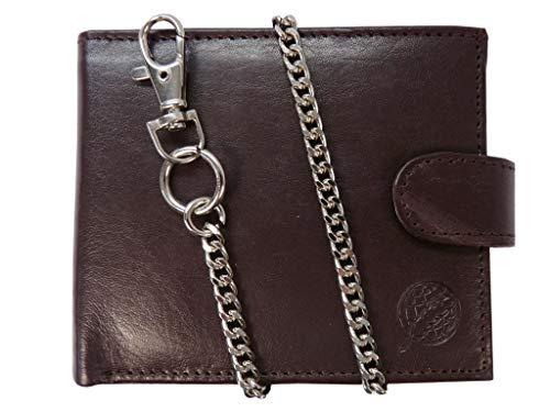 Herren Bikerbörse Leder Geldbörse - Kreditkarten Brieftasche mit Kette - 43cm Kette - 4 Kreditkartenfächer - Münzfach mit Druckknopf - Geschenkbox von Roamlite RL506DBX