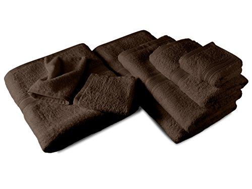 Packs zum Sparpreis - solide Frottiertücher - erhältlich in 18 modernen Farben und 8 verschiedenen Größen, 4er Pack Handtücher (50 x 100 cm), schokobraun (Handtücher In Schokobraun)
