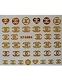 MTCTK Adesivi per Unghie in Oro Fai da Te Adesivo Autoadesivo Fiore Brand Design Decal per Unghie Logo Sticker Nail Art Decoration Manicure