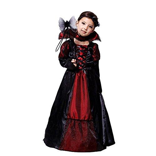 JT-Amigo Kinder Mädchen Vampir Prinzessin Kostüm für Halloween, Fasching, Karneval Gr. 134/140
