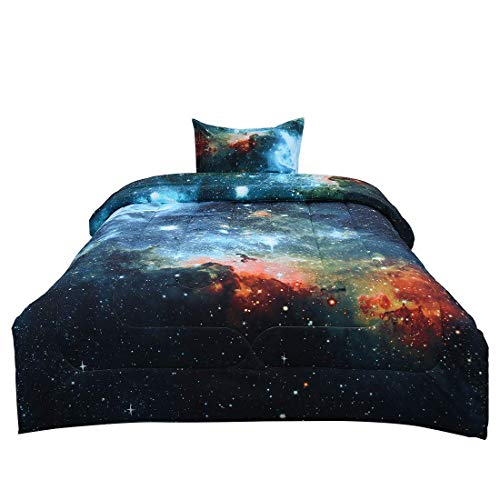 Down-alternative Tröster-sets (ZCHXD Twin 2-Piece Galaxies Blue Comforter Sets - 3D Space Themed - All-Season Down Alternative Quilted Duvet - Reversible Design - Includes 1 Comforter, 1 Pillow Case)