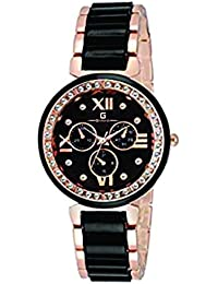 Geonardo's Slimstyle Black Dial Dual Colour Chain Watch For Women And Girls-GDW005