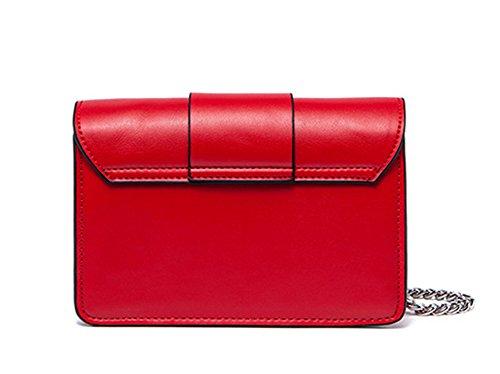 Xinmaoyuan Borse donna Twist rivetto Ampia tracolla catena Borsetta tracolla messenger piccola piazza Borsa borsette in cuoio,Bianco Rosso