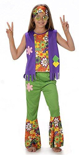 Hippie Mädchen Kostüm 60er 70er Jahre Hippie Kinder Kinderkostüm (Small)