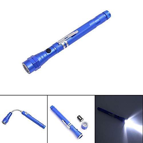 Bleu : multifonctionnel magnétique Aimant de lampe torche LED télescopique Flexible cou Pick Up Outil 3 LED puissante lampe de poche Lanterna