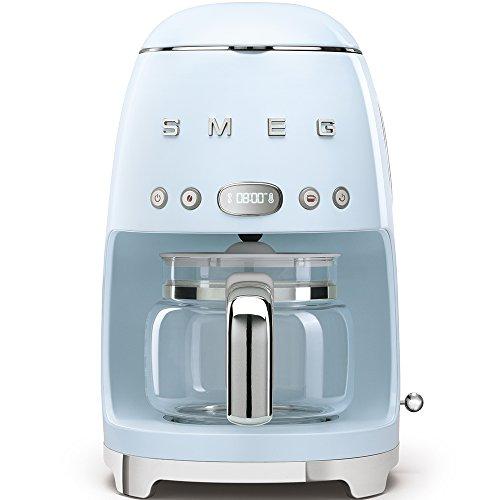 Smeg Cafetera de Goteo DCF01PBEU semiatumatica, Filtro Permanente, 1050 W, 1.4 litros, De plástico, Acero Inoxidable, Azul