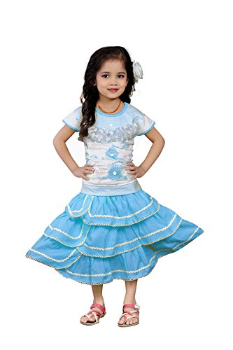 White World Baby Girls Sky Color Birthday Party wear Frock Dress S.B