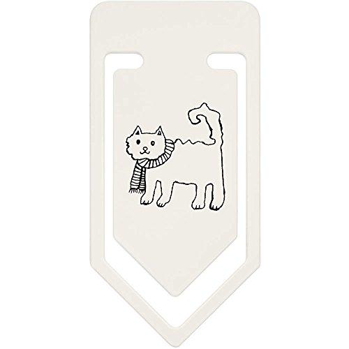 Azeeda 91mm 'Katze Tragen Schal' Große Plastik Büroklammer (CC00017751) - Tragen Große Schal