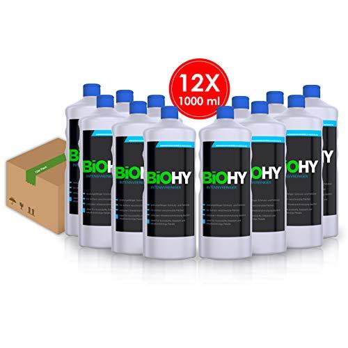 Biohy detergente intensivo, confezione da 12 (12 x 1 litri) concentrato anti sporco e sgrassante, detergente per superfici, detergente industriale