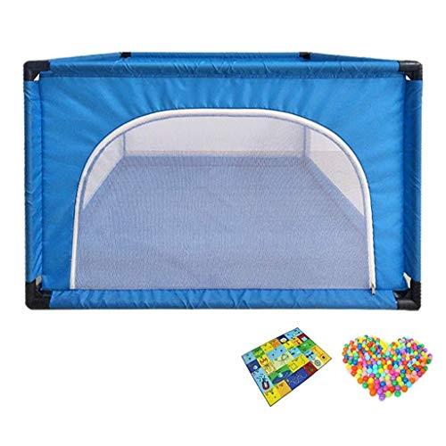 Bettgitter Babyplaypen - Kinderspielzeug Bobo Innen-Pool Spiel Bed Infant Krabbeln Mats Kleinkind Leitschiene 120 × 120 × 68cm (Color : Blue)