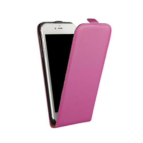 AMEEGO iPhone SE / 5S / 5 Erstklassiger echter dünner realer lederner Mappen-Schlag-Fall HOT PINK