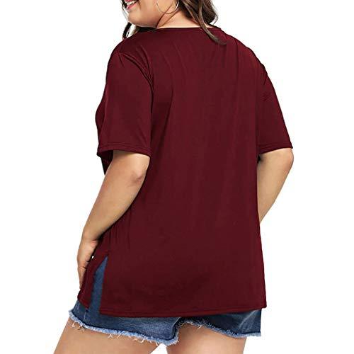 Damen Frühling und Sommer T-Shirt,Rifuli® Fashion Plus Size V-Ausschnitt Solide Kurzarm Lace Up Tops Tee Tops Blusen Tuniken Bekleidung Damen