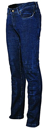 Preisvergleich Produktbild Bikers Gear Australia Limited Damen Stretch gefüttert mit Kevlar Motorrad Schutz Jeans mit abnehmbare CE Armour, blau, Größe 18