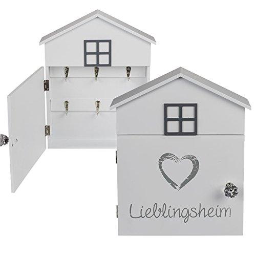 Bada Bing Schlüsselkasten Lieblingsheim Holz Haus Weiß Grau Spruch Schlüssel Aufbewahrung Kasten Wanddekoration Deko 34