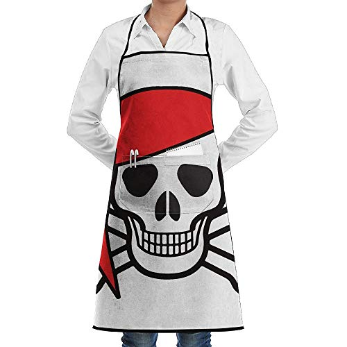 dfgjfgjdfj Ocean Skull Pirate Schürze Lace Adult Mens Womens Chef Adjustable Polyester Long Full Black Cooking Kitchen Schürzes Bib with Pockets for Restaurant Baking Crafting Gardening BBQ Grill (Eine Lady Pirate Kostüm)