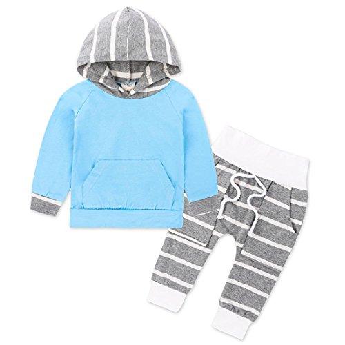 Baby Kleidung Satz, QinMM Kleinkind Säuglingsbaby Kleidung stellte gestreifte Hoodie Tops + Pants Outfits Set 2pcs 0 -18 Monat (0-6M, Blau) (Gestreifte Top Hoodie)