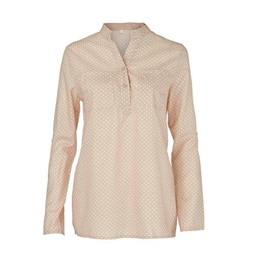 ESAILQ Damen Streifen Langarmshirt Tops Elegant Lose Baseball T-Shirt Sweatshirt Bluse(XXXL,Beige)