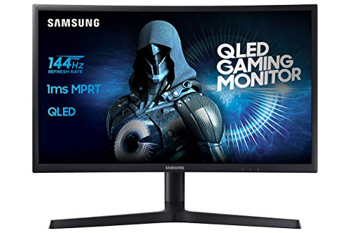 "Samsung C24FG73 Monitor da Gaming Curvo VA da 24"" Full HD, QLED, 1920 x 1080, 144 Hz, 1 ms, FreeSync, DP, HDMI, 16.7M di Colori, sRGB 125%, Regolabile in altezza, Pivot, Nero"