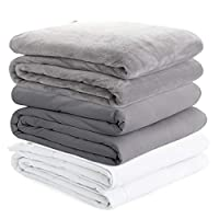 Degrees of Comfort Weighted Blanket Adult w/ 2 Duvet Covers for Hot & Cold Sleepers Advanced Nano-Ceramic Beads Deliver Durability & Silky Comfort (60x80 25lbs, Grey)