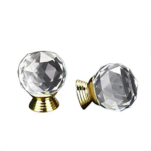 Dosige 1 Stück Moebelknopf klar Rund Knopf Möbel Glas Knöpfe Küche Schubladen-Schränke Griffe Closet Dekoration Griff mit Schraube 40mm Kristall -