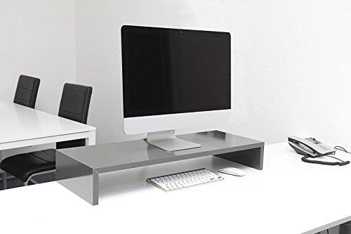 Hermes Möbel Design Monitortisch Bildschirm Ständer Erhöhung Schreibtischregal Standfuss Hochglanz Schwarz B/H / T 90 x 12 x 30 cm