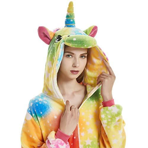 Chenrry Pyjamas Tieroutfit Schlafanzug Snorlax Tier Onesies Weihnachten Sleepsuit mit Kapuze Erwachsene Unisex Overall Halloween Kostüm Rainbow Unicorn ()