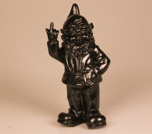 Stone-Lite Figur - Gartenzwerg mit Stinkefinger - 20 cm - schwarz - lustiges Geschenk
