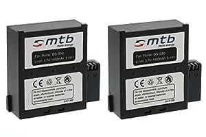 2x Batterie pour Rollei 6S WiFi, 7S WiFi Actioncam Bullet [3.7V - 1450mAh - Infochip] // Caméscope - Caméra d'action