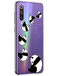 Oihxse Cristal Compatible con Xiaomi Redmi K30 5G Funda Ultra-Delgado Silicona TPU Suave Protector Estuche Creativa Patrón Panda Protector Anti-Choque Carcasa Cover(Panda A4)