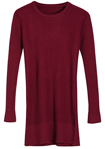 Vogueearth Fashion Femme's Longue Manche Crew Neck Slim-Fit Knit Elasticity Jumper Sweater Chandail Tricots Pullover Du Vin-1