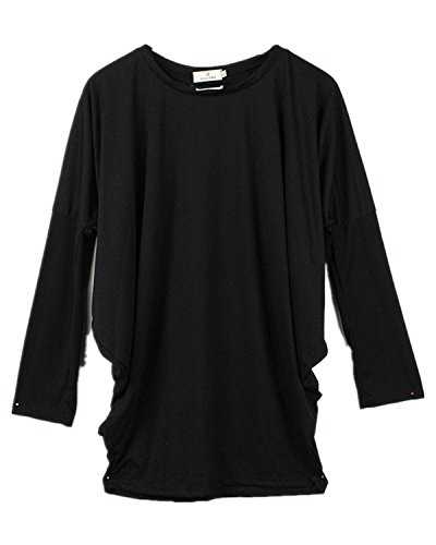 Damen Shirts Longshirt Mini Kleid Bluse Fledermaus Oversize Asymmetrie Poncho