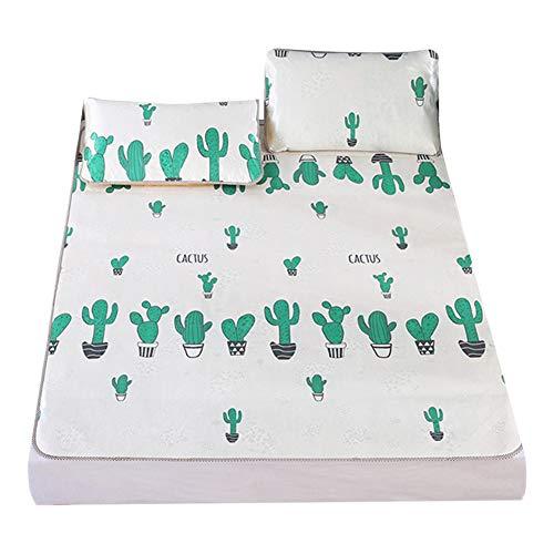 cheerfulus Kaktus Muster EIS Seide Kühle Matte, Sommer Faltbare Kühlmatte Bettauflage Atmungsaktive Schlafmatratze Kühlen Flache Bettwäsche mit 2 Kissenbezug Set