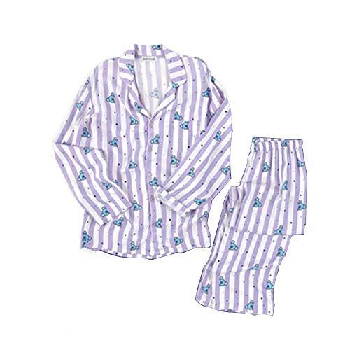 FANMURAN KPOP BTS Bangtan Boys BT21 Versión de Dibujos Animados Jung JOOK Jimin V Same Pijama de Harajuku Camisa de Manga Larga Nighty Hombre Mujer Bedgown (Koya, L)
