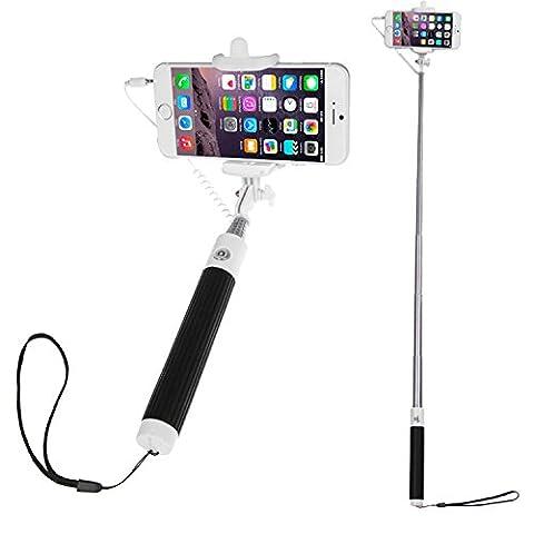 wortek Universal Smartphone Selfie Stick Einhandstativ mit Auslöser am Griff Weiß / Schwarz