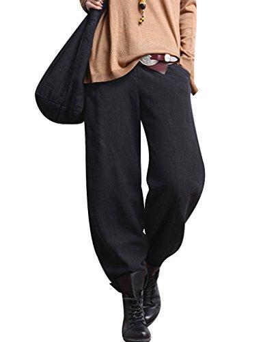 Youlee Donna Inverno Largo Gamba Pantaloni Biancheria Pantaloni Fit M