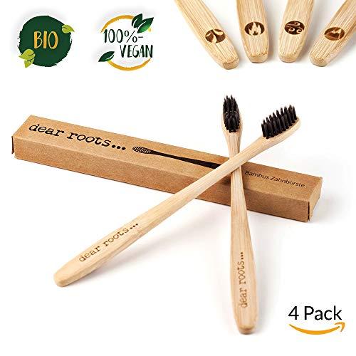 Bambus Zahnbürste 4er Set ♻ Reisezahnbürste mit Griff aus 100% Bambus ♻ Bürste und Verpackung 100% Vegan und BPA-frei ♻ kleiner Bürstenkopf & mittelweiche Bambuskohle Borsten für weiße Zähne