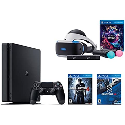 PlayStation VR Launch Bundle 3 Items:VR Launch Bundle,PlayStation 4 Slim 500GB Console - U,VR Game Disc PSVR DriveClub ncharted 4(Versión EE.UU.,