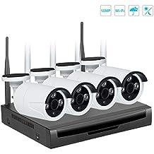 EMAX Kit Videosorveglianza Wifi NVR 720P 4Canali 4 Wifi Telecamera Sorveglianza Esterno Antifurto Casa Visione Notturna H.264(Senza HDD Preinstallato) (1.0MP 4CH)