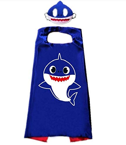 Hapyshop Kinder Baby Hai Umhang Cartoon Cute Style Umhang Maske Kinder Schal Umhang Umhang Umhang für Maskerade, Geburtstagskleid, Party, Weihnachten, Halloween-Kostüm Blau Größe: 70 x 70 cm